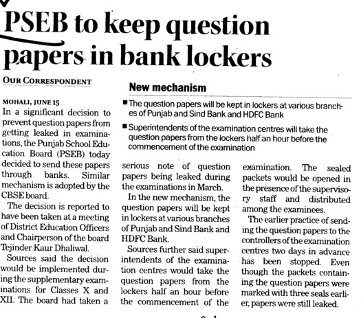 PSEB to keep question papers in bank lockers (Punjab School Education Board (PSEB))