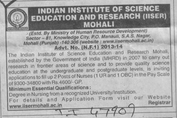 Nurses (Indian Institute of Science Education and Research (IISER))