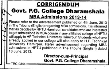 MBA Course (Government College)