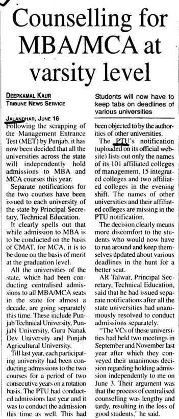 Counselling for MBA at varsity level (IK Gujral Punjab Technical University PTU)