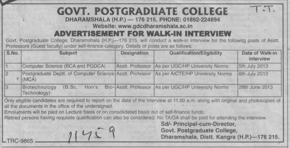 Asstt Professor for PGDCA (Government College)