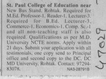 Professor and Reader (St Paul College of Education)