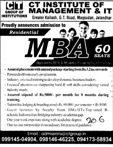 MBA Course (CT Institute of Management and Information Technology)