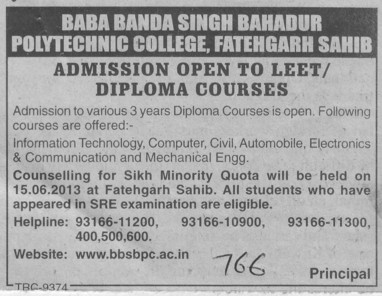 Diploma in Civil and Automobile (Baba Banda Singh Bahadur Polytechnic College)