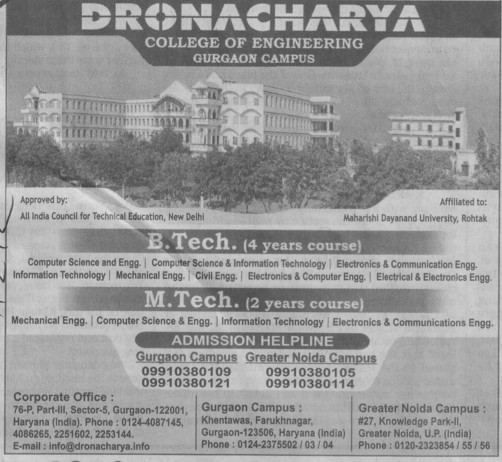 BTech and MTech (Dronacharya College of Engineering (DCE))