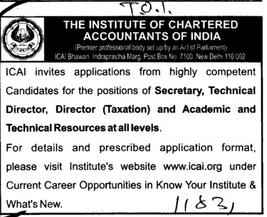 Secretary and Director (Institute of Chartered Accountants of India (ICAI))