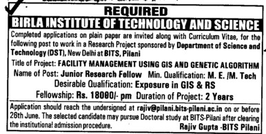 Junior Research Fellow (Birla Institute of Technology and Science (BITS))