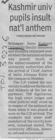 Kashmir univ pupils insult national anthem (Kashmir University)