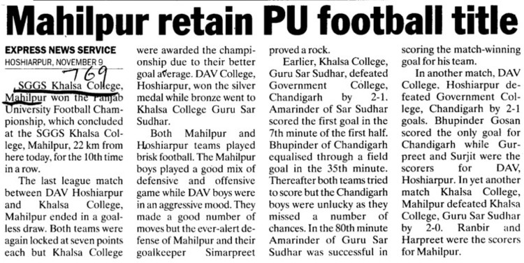 Mahilpur retain PU football title (SGGS Khalsa College)
