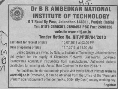Supply of Chemicals (Dr BR Ambedkar National Institute of Technology (NIT))