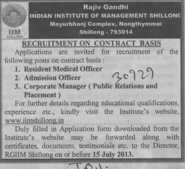 Resident Medical officer (Rajiv Gandhi Indian Institute of Management (RGIIM))