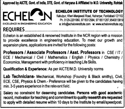 Lab technician (Echelon Institute of Technology)