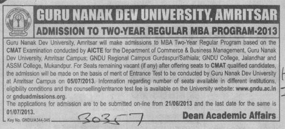 MBA program (Guru Nanak Dev University (GNDU))