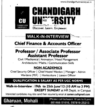 Chief Finance and Accounts officer (Chandigarh University)