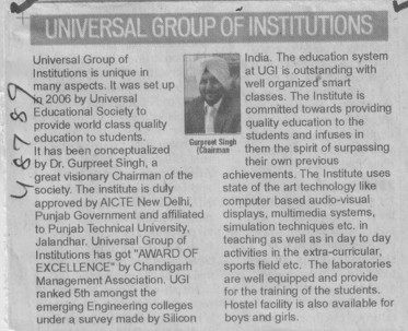 Message of Chairman Gurpreet Singh (Universal Group of Institutions)