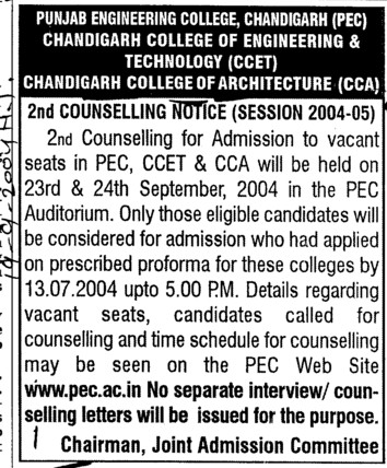 CCET and CCA (Chandigarh College of Architecture)