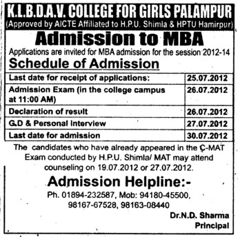 MBA (KLB DAV College for Girls)