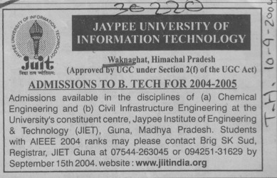 BTech in ME, EE (Jaypee University of Information Technology (JUIT))