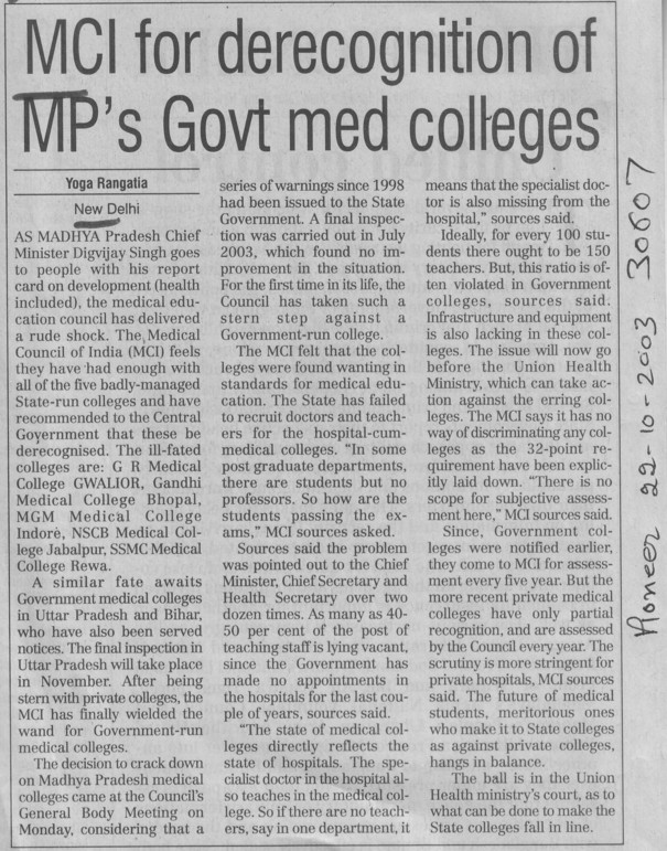 MCI for derecognition of MPs govt med colleges (Medical Council of India (MCI))