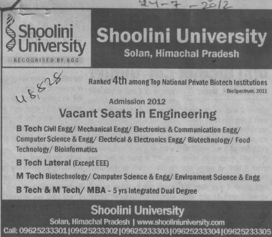 BTech, MBA and MCA (Shoolini University)