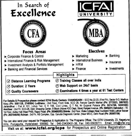 institute of chartered financial analysts of india (icfai) hyderabad ...