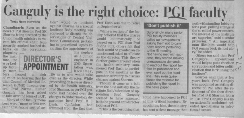Ganguly is the right choice, PGI Faculty (Post-Graduate Institute of Medical Education and Research (PGIMER))