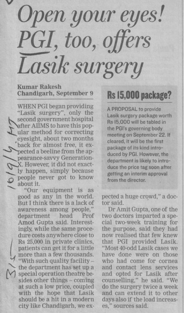 Open your eyes PGI, too, offers Lasik surgery (Post-Graduate Institute of Medical Education and Research (PGIMER))