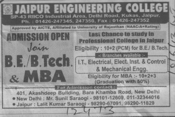 BE, BTech and MBA (Jaipur Engineering College (JEC))