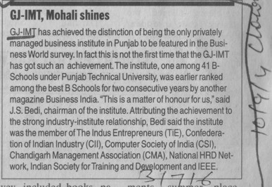 GJ IMT Mohali shines (Gian Jyoti Institute of Management and Technology (GJIMT))