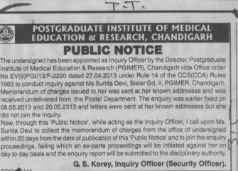 Inquiry against Ms Sunita Devi (Post-Graduate Institute of Medical Education and Research (PGIMER))