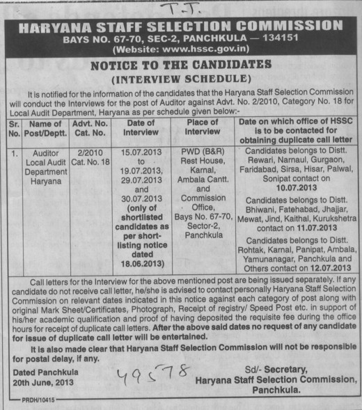 Auditor (Haryana Staff Selection Commission (HSSC))