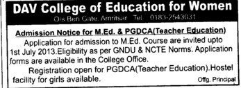 MEd and PGDCA (DAV College of Education for Women)