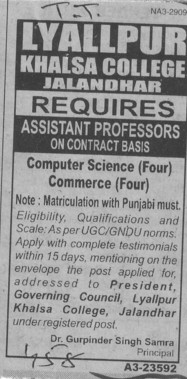Asstt Professor on contract basis (Lyallpur Khalsa College of Boys)