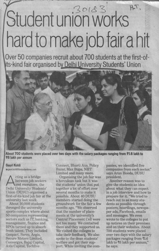 Student union works hard to  make job fair a hit (Delhi University)