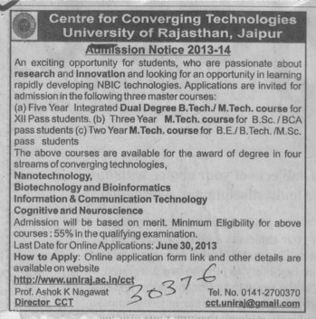 BTech and MTech (University of Rajasthan)