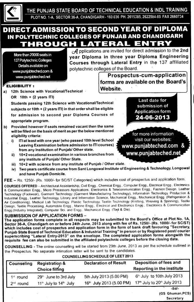 Diploma in Engineering (Punjab State Board of Technical Education (PSBTE) and Industrial Training)