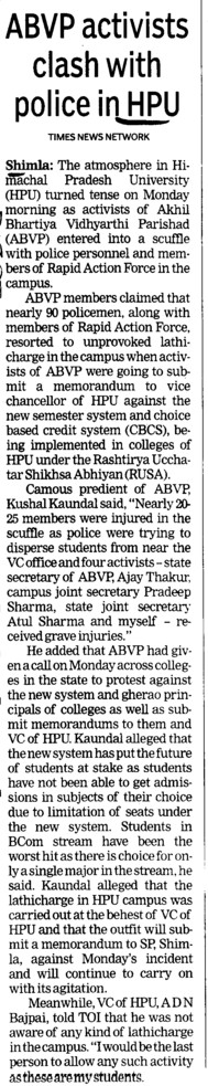ABVP activists clash with police (Himachal Pradesh University)