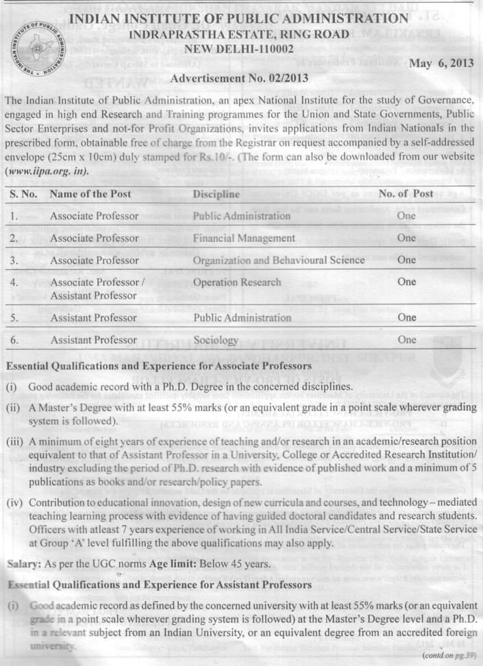 Asstt and Associate Professor (Indian Institute of Public Administration (IIPA))