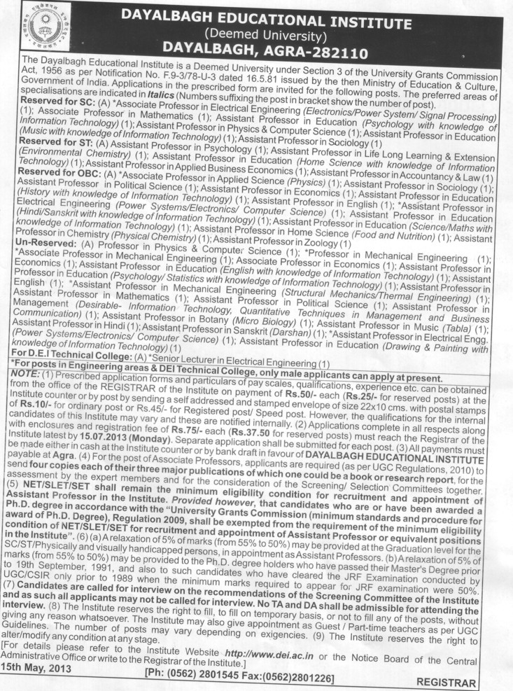 Asstt Professor in Zoology (Dayalbagh Educational Institute Deemed University)