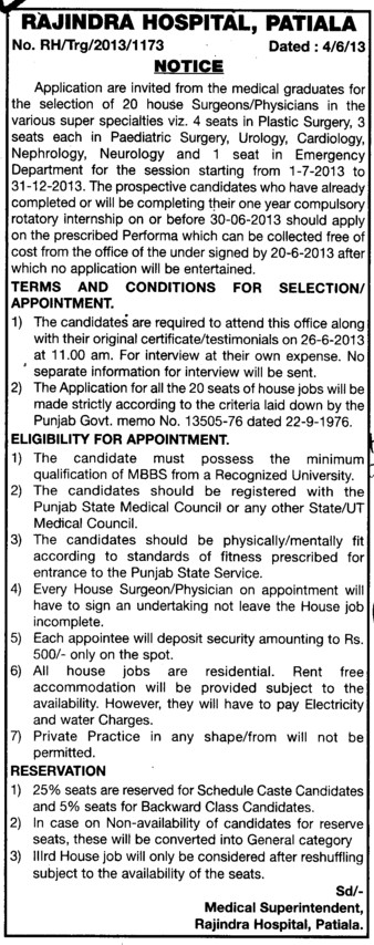 Appointment of Surgeon (Government Medical College and Rajindra Hospital)