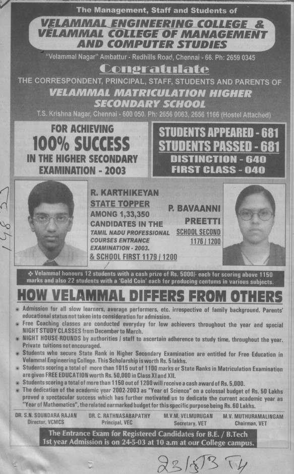 College for achieving 100 percent success (Velammal Engineering College)