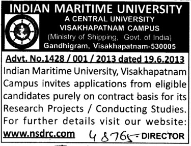 Research Scholars for Conductiing studies (Indian Maritime University)
