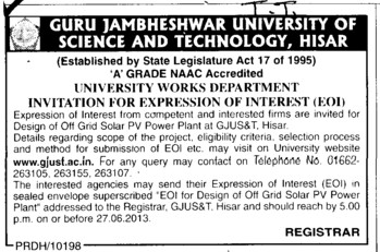 Off Grid Solar PV Power Plant (Guru Jambheshwar University of Science and Technology (GJUST))