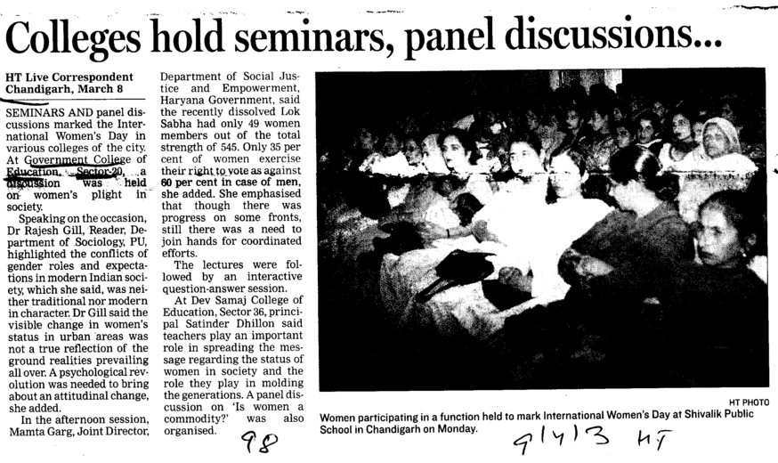 Colleges hold seminars, panel discussion (Government College of Education (Sector 20))