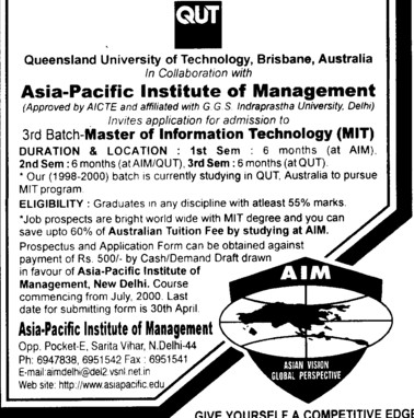 Master of Information Technology (Asia Pacific Institute of Management)