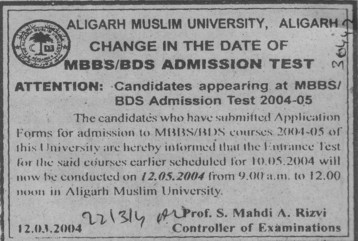 MBBS and BDS (Aligarh Muslim University (AMU))