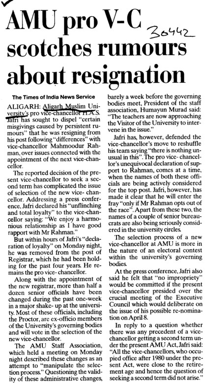 AMU pro VC scotches rumours about resignation (Aligarh Muslim University (AMU))