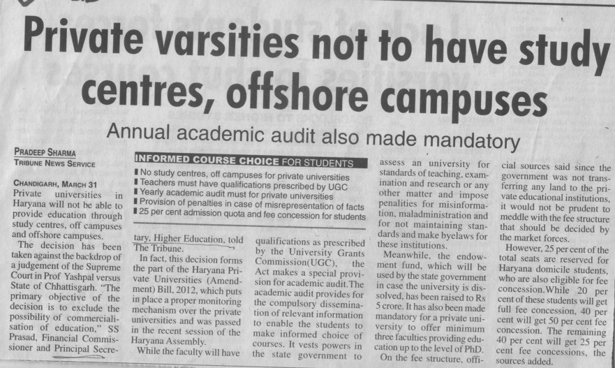 Pvt Varsities not to have study centres, offshore campuses (Department of Higher Education Haryana)