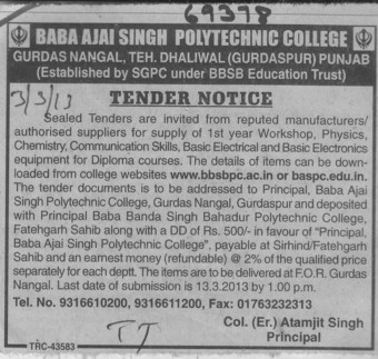 Workshop for PCM (Baba Ajay Singh Polytechnic College Gurdas Nangal)