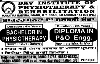 Bachelor in Physiotherapy (DAV Institute of Physiotherapy and Rehabilitation)